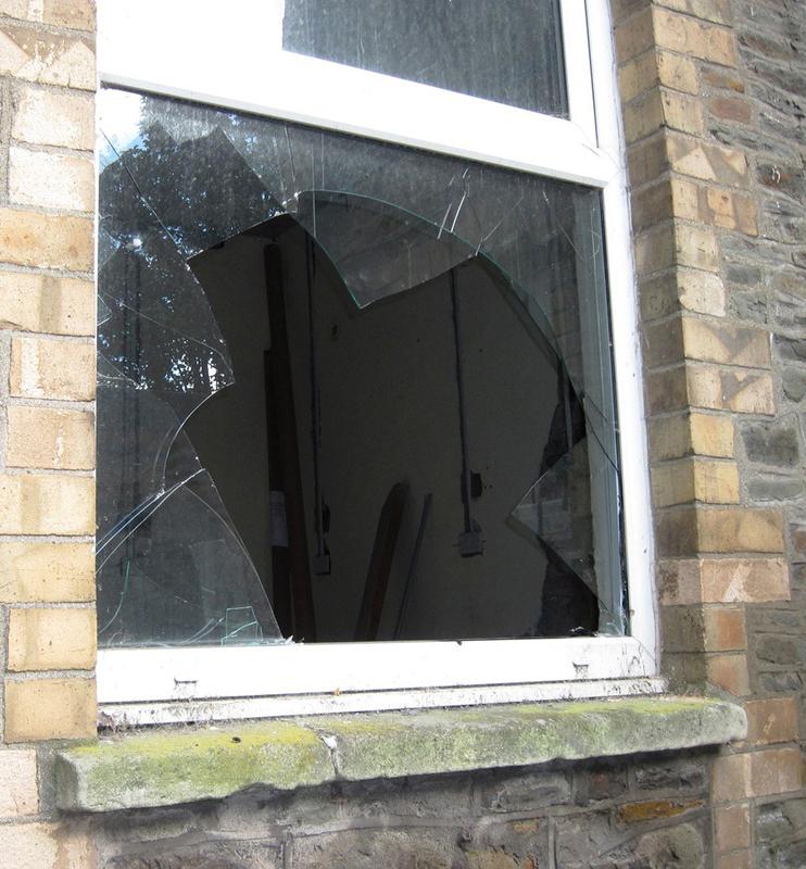 broken cracked window
